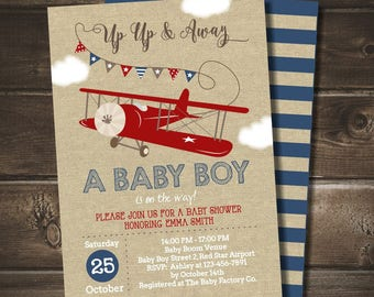 Airplane Baby Shower Invitation with FREE Blue Striped Back, Vintage Airplane Baby Shower, DIGITAL Printable Invite, Red Airplane