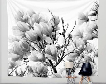 Nature Tapestry - Magnolia Tree Tapestry - Black and White - Wall Tapestry - Nature Decor - Flower Tapestry - Wall Decor - Magnolia