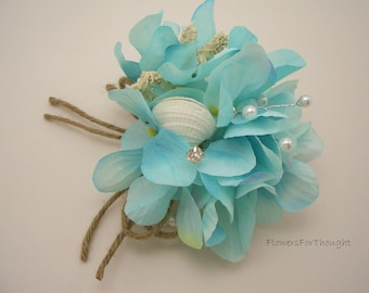 Beach Wedding Corsage, Seashell Aqua Hydrangea Bridal Flowers