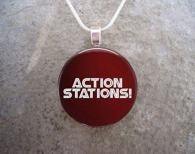 Action Stations! Battlestar Galactica Jewelry - Glass Pendant Necklace - BSG