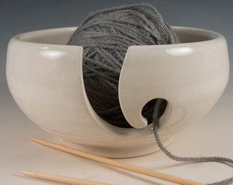 Yarn / Knitting Bowl - Eggshell white glaze - Wheel Thrown Stoneware by Seiz Pottery