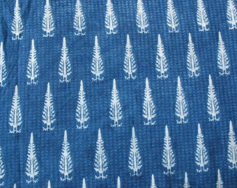 Indian Cotton Leaf Print  Vegetable Dye Fabric - Block Print / Stamped Fabric