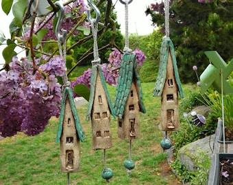 4 Ceramic wind chime bells