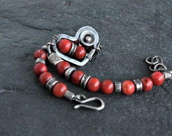 Coral bracelet, oxidized sterling silver, coral heart bracelet, artisan jewelry, unique bracelet, origina KokopeliStudio design