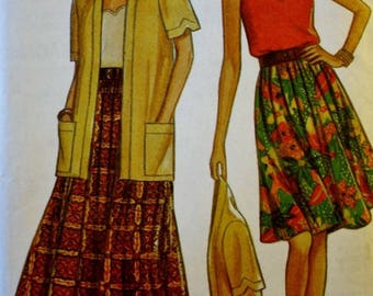 Short Sleeve Cardigan Top, Camisole, Skirt Sewing Pattern, New Look 6052,  UNCUT, Size 8-18