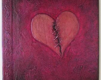 Handmade Refillable Journal Plum red Stitched Heart 8x8 Original