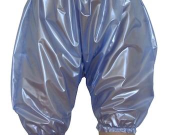 PVC Bloomers (Pants/Knickers). Pearly Blue,  Semi Clear PVC. 2 Sizes (l/xl, 2xl/3xl). Heavy Plastic