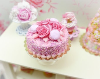 MTO-Pink Rose and Macaroon Cake - 12th Scale Miniature Food