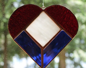 Stained Glass Patriotic Heart