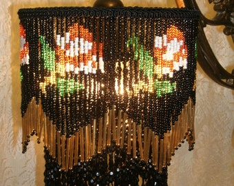Vintage 1930 Style Bridge Lamp Shade with Roses on Black all beaded shade