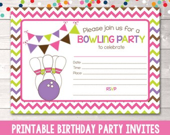 Printable Girls Bowling Party Invitation Fill in the Blank Birthday Party Invite Instant Download PDF Pink Purple & Green Chevron Stripes