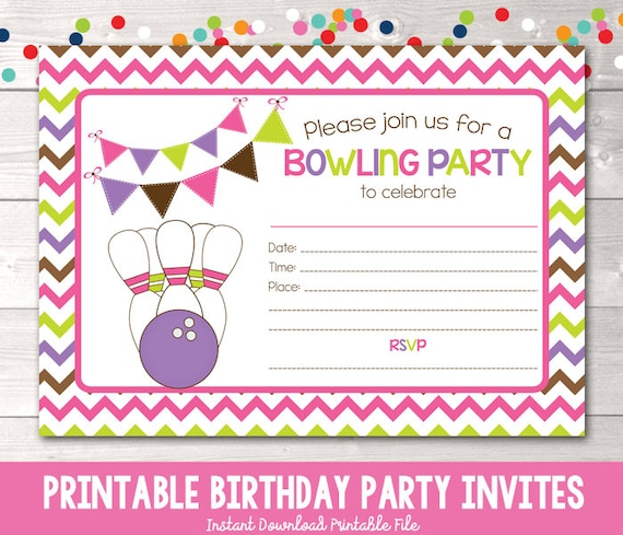 photograph relating to Printable Bowling Party Invitations identified as Terrific Bowling Birthday Celebration Invitation #WV96