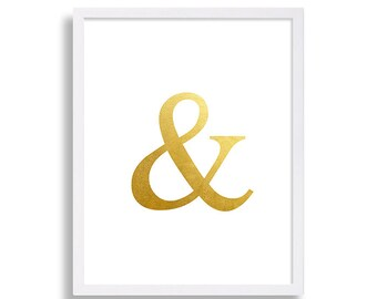 Ampersand Print Faux Gold Foil & Art Print And Symbol Print Living Room Decor White and Gold Print Stylish Art Hipster Prints Poster Modern