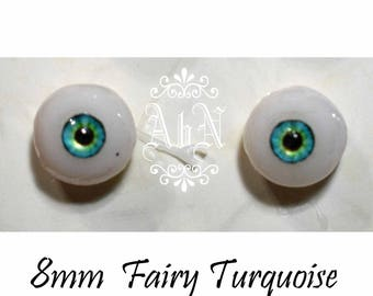 Hand Made Glass Like Eyes 8mm - Turquoise Fairy - for OOAK Art Dolls Fairy-8mm
