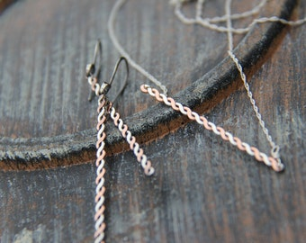 Mixed metal minimalist, modern twisted bar necklace, rope necklace, sterling silver and copper twisted bar necklace