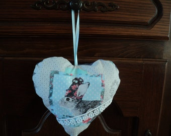 beautiful door pillow heart, Bunny, handmade
