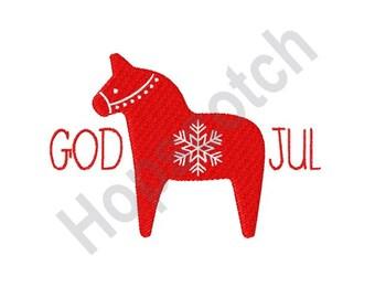 God Jul - Machine Embroidery Design - 5 X 7 Hoop, Swedish, Sweden, Merry Christmas, Xmas