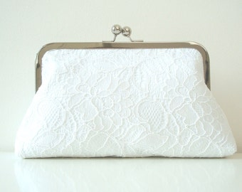 White Bridal Wedding Clutch Purse Lace Satin Something Blue Large Size purse Ready to Ship Made in England UK