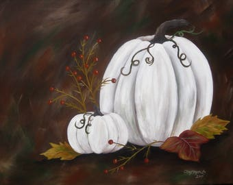 """White pumpkins painting,  handpainted acrylic on 16"""" x 20"""" stretched canvas"""