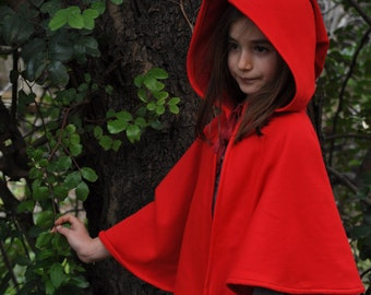 Red Riding Hood Cape,  renaissance, child, kids, fleece, custom made