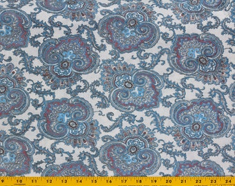 Vintage Flour Sack, Feed Sack white background Paisley Print Blue and Maroon with Black outlining