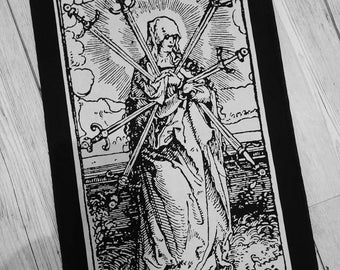 Virgin Mary back patch - christian metal back patch, white metal, black metal patch, medieval, gift gothic patch, tarot patch, nu goth,