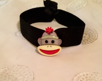 Gray and Black Sock Monkey Elastic Hair Tie / Girls Gray Sock Monkey Hair Tie / No Crease Sock Monkey Hair Tie