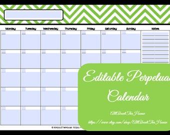 EDITABLE Printable Calendar-Perpetual Calendar-Chevron Calendar-- Calendar-AnyYearCalendar-Meal Planner-Family Calendar-Style2 2018