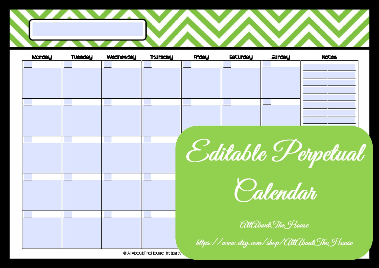 Editable Printable Calendar Perpetual Calendar Chevron