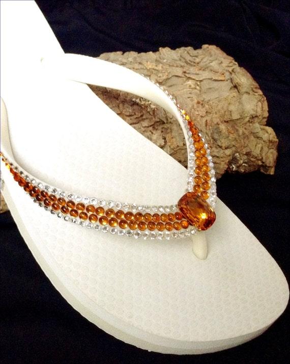 Deep Orange Topaz Custom Flip Flops w/ Vintage Swarovski Crystal Cabochon gems Havaianas flat or Cariris Wedge Heels Thong Wedding Shoes