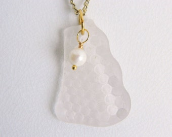 Patterned Sea Glass Necklace, Beach Glass Jewelry, Gold Plated, Freshwater Pearl, White Seaglass Pendant