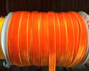 Velvet Ribbon - Orange Velvet Ribbon 10mm ( 3/8 inches )