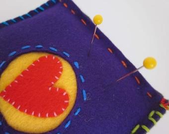 Wool Felt Pincushion With Heart