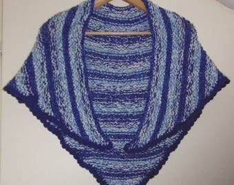 SHAWL ORIGINAL blue striped hand knitted warm wool Bergère de france