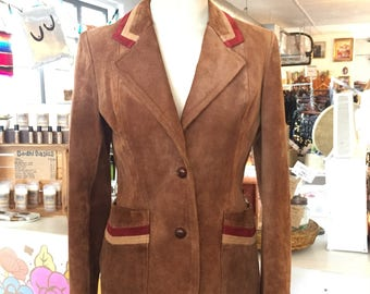 1970's Suede Color Block Casual Corner Blazer Jacket / Small