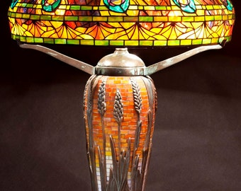 Mosaic Lamp, Stained Glass Lamp, Tiffany Lamp, Home Styling, Classic design Lamp, Bespoke Glass, Lamp, Table Lamp, Desk Lamp, Peacock lamp
