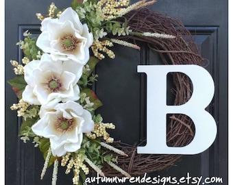 MAGNOLIA Wreath with Cream Heather and Matching Berries, Wedding Door Decor, Wreath for Door,  White Wreath