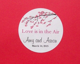 Pink CHERRY BLOSSOM Favor Stickers - Wedding Reception - Bridal Shower - Round Labels - You Choose the Size - Blossoms
