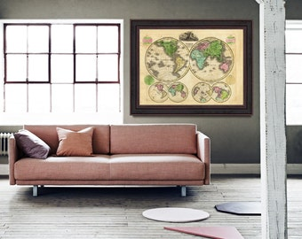 Antique World Map, Globular Projection Map, World Map Poster, Wall World Map, Antique Map Poster, Vintage Map- CP008
