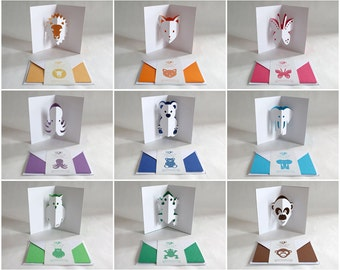 9 Animals Pop-up Cards // Full Collection Popanimup / Creative Stationery, Everyday Gift Card, Birthday Card, Greeting Card, Decorative Card