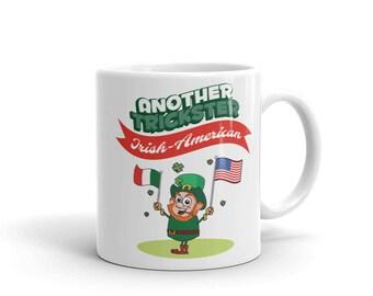 Another Patriotic Trickster Irish-American Leprechaun Waves Flags Mug