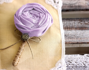 Groom boutonniere, wedding boutonniere, lapel flower, groom's buttonhole, fabric boutonniere, lapel pin, prom