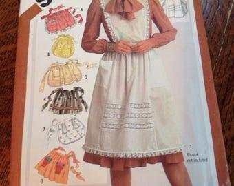 Vintage Simplicity Pattern 5323, Apron Pattern, Full Apron Pattern, Half Apron Pattern, 80's Apron Pattern, Uncut Pattern
