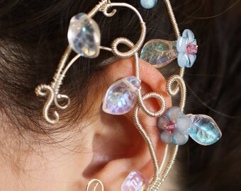Blue flower elf ear cuff