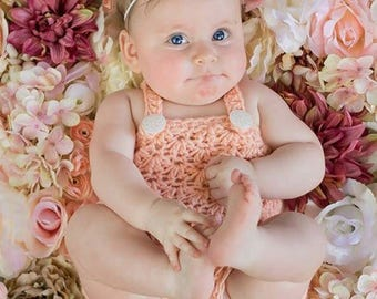 Romper, 6 month size, Headband, Baby Girl, Coral, Light Peach, 3 to 9 month Photo Prop, Flower Headband,  Ready to Ship