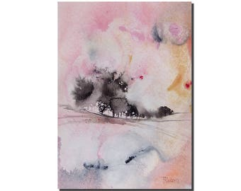 """Abstract Landscape, Watercolor Painting, 7""""x5"""", Original Painting, Blush Pink, Original Art Painting, Abstract Art, Gift for Christmas"""