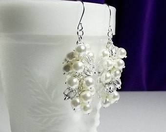 Wedding Jewelry, Pearl Crystal and Silver Earrings, Christmas Gift, Mom Sister Grandmother Jewelry, Pearl Drop Earrings, Bridesmaid