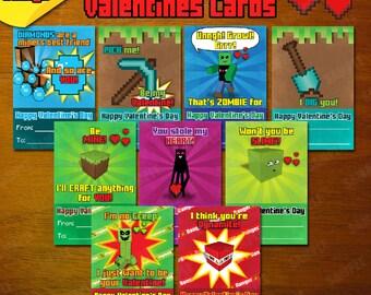 Mineventure Valentines Cards - 9x Instant Download Designs - Printable DIY