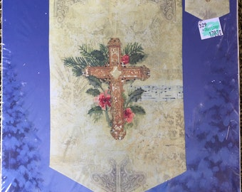 Candamar Tidings of Joy Crossed Banner Stamped Cross Stitch