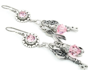 Breast Cancer Awareness Silver Dangle Charm Earrings with Crystals, Pink Awareness Earrings, Breast Cancer Awareness Jewelry